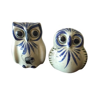 Painted Owl Salt & Pepper Shakers - A Pair