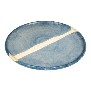 White Stripe Blue Pottery Charger