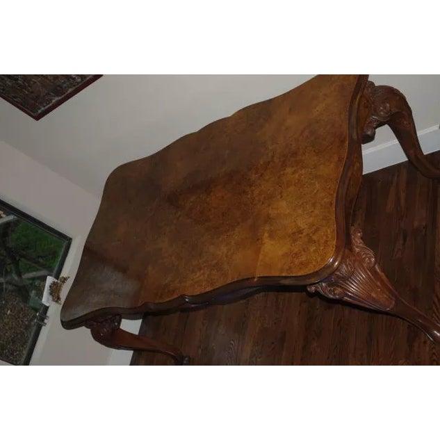 Antique Burled Walnut Dining Table - Image 6 of 6