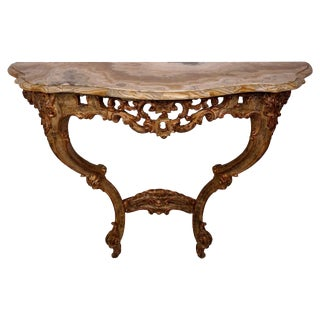 Rococo Style Giltwood Wall Hung Console with Marble Top, Italian, 19th Century