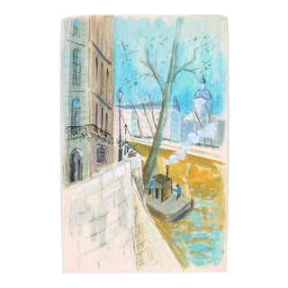 French Riverside Painting C.1950 by Edith Alder