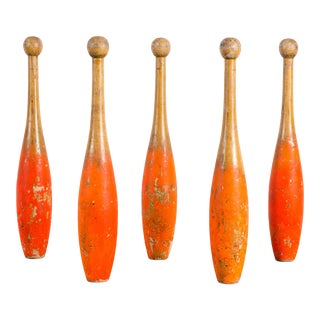 Collection of Five Indian Clubs with Fantastic Neon Orange from Chicago Park Carnival