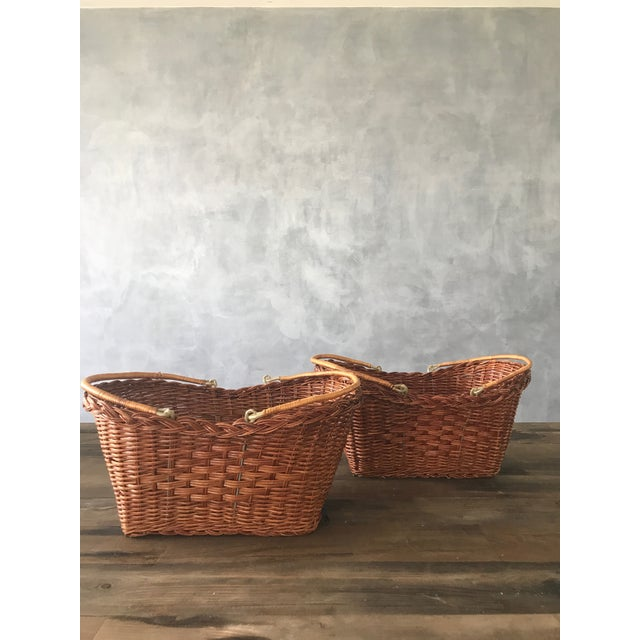Rattan Carrying Baskets - A Pair - Image 2 of 7
