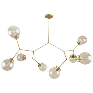"Brass and Glass Model 520 ""Molecular"" Chandelier by Blueprint Lighting, 2017"
