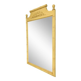 Vintage Yellow Bamboo-Style Mirror