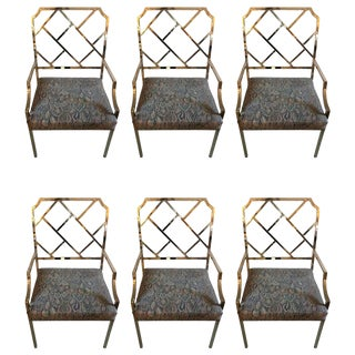 DIA Chippendale Style Modern Chrome Dining Chairs - Set of 6