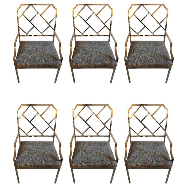 Dia Chippendale Style Modern Chrome Dining Chairs Set Of