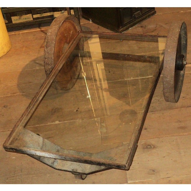 Antique Industrial Metal Glass Table on Wheels - Image 5 of 8