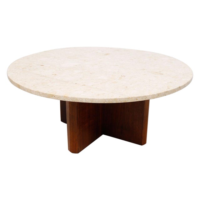 "Travertine Marble Top Coffee Table with ""X"" Base - Image 1 of 9"