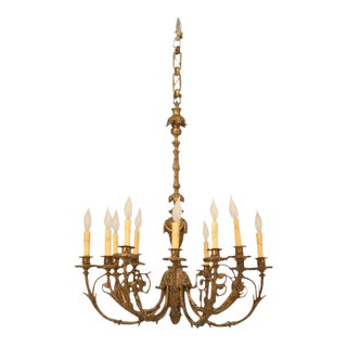 Antique French Solid Bronze Chandelier