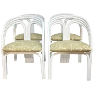Vintage Ficks Reed Style White Lacquered Rattan Upholstered Chairs - Set of 4