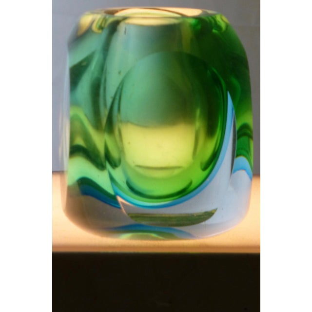 Image of Vintage Murano Glass Sommerso Vase by Flavio Poli