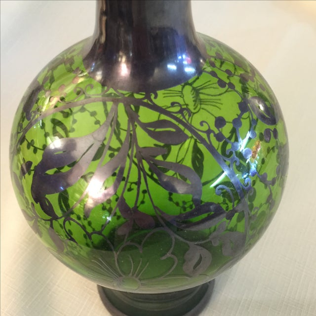 Image of Silver Overlay Emerald Decanter