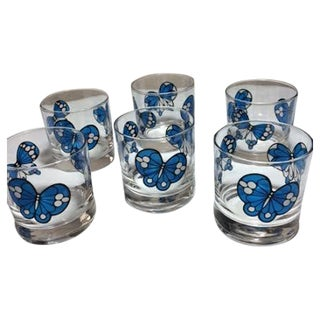 Retro Butterfly Lowball Glasses - Set of 6