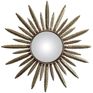 Italian Mid-Century Sunburst Mirror with Metal Frame