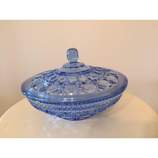 Blue Glass Lidded Bowl - Image 2 of 3