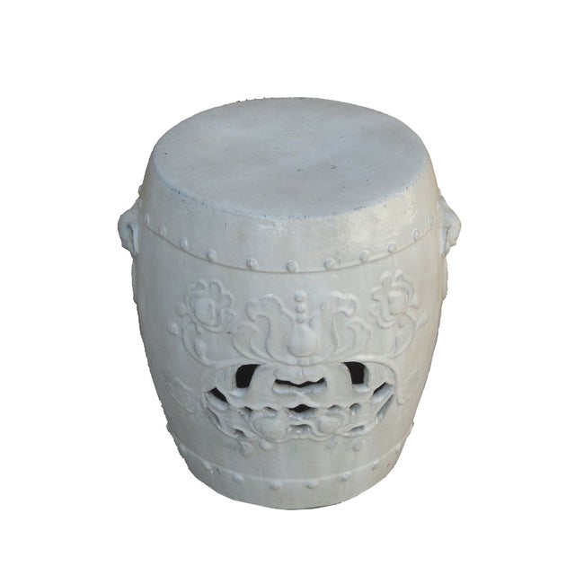 Chinese Clay White Lotus Garden Stool/Ottoman - Image 5 of 7