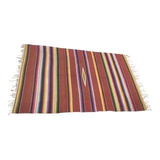 Vintage Serape Wool Mexican Blanket