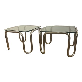 Mid-Century 1970's Chrome Glass Side Tables - a Pair
