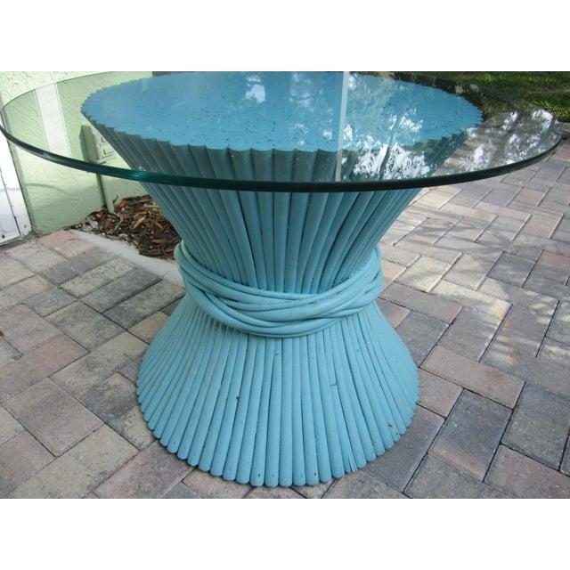 Vintage Sheaf of Wheat Blue Rattan Table Base - Image 8 of 11