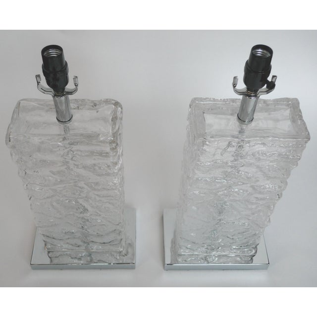Modern Ice Cube Glass Table Lamps - A Pair - Image 5 of 8