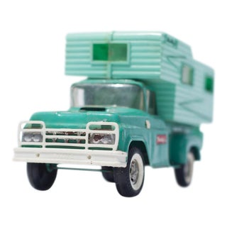 Vintage Turquoise Toy Camper Photograph