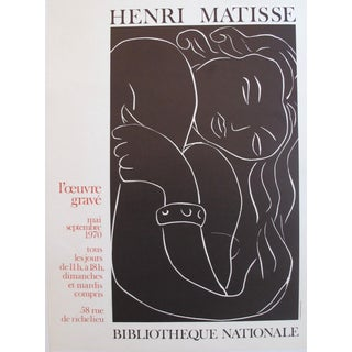Vintage Henri Matisse Exhibition Poster, Black and White Nude
