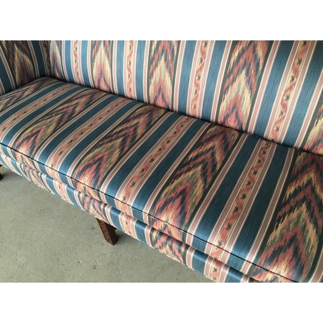 Hickory Chair Flame Stitch Chippendale Style Camel Back Sofa - Image 6 of 11