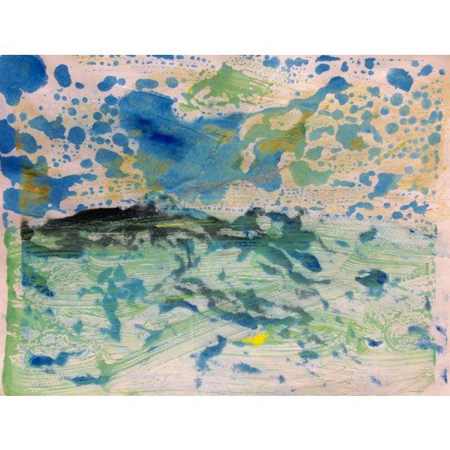 """Blue Mist"" Handmade Ink on Paper Monotype, 2016 - Image 1 of 4"