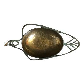 Israel Modernist Verdigris Hammered Brass Bowl
