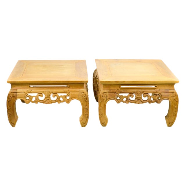 Carved, Stripped Wood Asian Low Tables - a Pair - Image 1 of 7