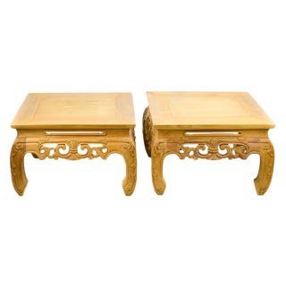 Carved, Stripped Wood Asian Low Tables - a Pair