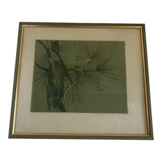 Vintage Abstract Palm Tree Watercolor Painting