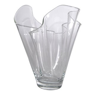 Hand Blown Transparent Handkerchief Vase
