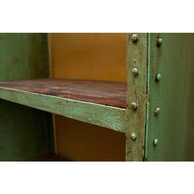 Green Industrial Steel & Teak Wood Bookshelf - Image 3 of 4