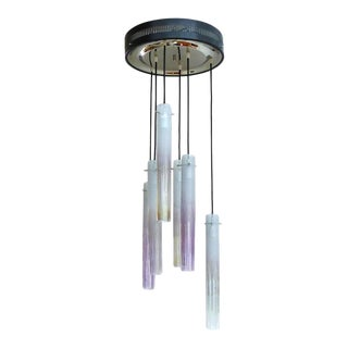 1950s Murano Flush Mount Fixture with Glass Tubes