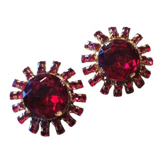 Ruby Red Crystal Rhinestone Clip Earrings 1960s