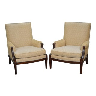 Barbara Barry Style Pair of Mahogany Frame Regency Lounge Chairs