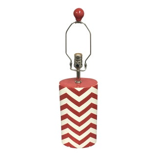 Jill Rosenwald Red Buckley Chevron Table Lamp