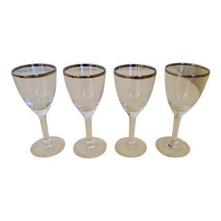 Silver Rim Wine or Cocktail Glasses - Set of 4