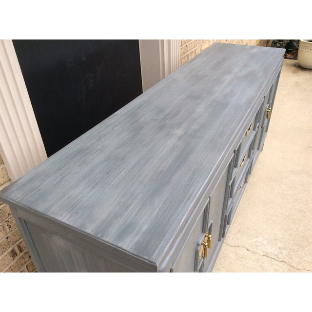 Vintage Thomasville Grey Distressed Asian Credenza - Image 5 of 8