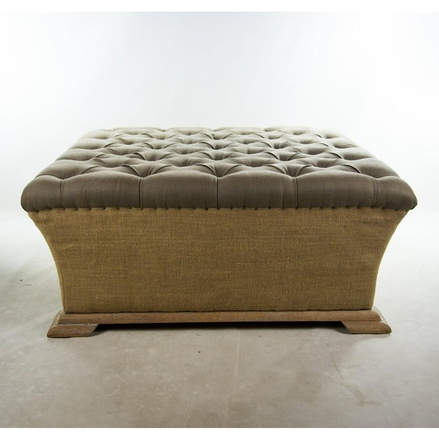 Webster Burlap Linen & Wood Large Tufted Ottoman - Image 5 of 11