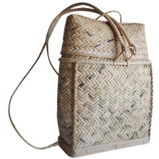 Woven Bamboo Basket Backpack