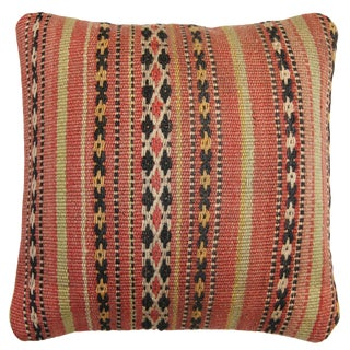 Rug and Relic Light Coral Stripe Kilim Pillow