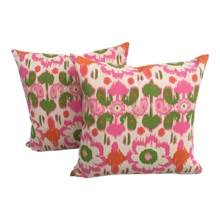 Pink, Orange & Green Ikat Pillows - A Pair