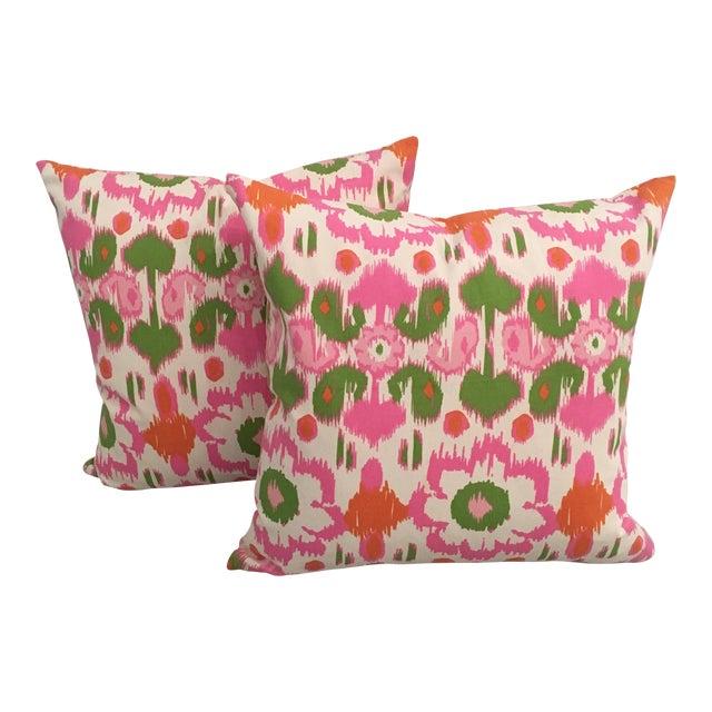 Pink, Orange & Green Ikat Pillows - A Pair - Image 1 of 6