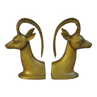 Mid-Century Brass Ibex Bookends - A Pair