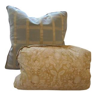 Dusty Chic Blue & Gold Sofa Pillows - Pair