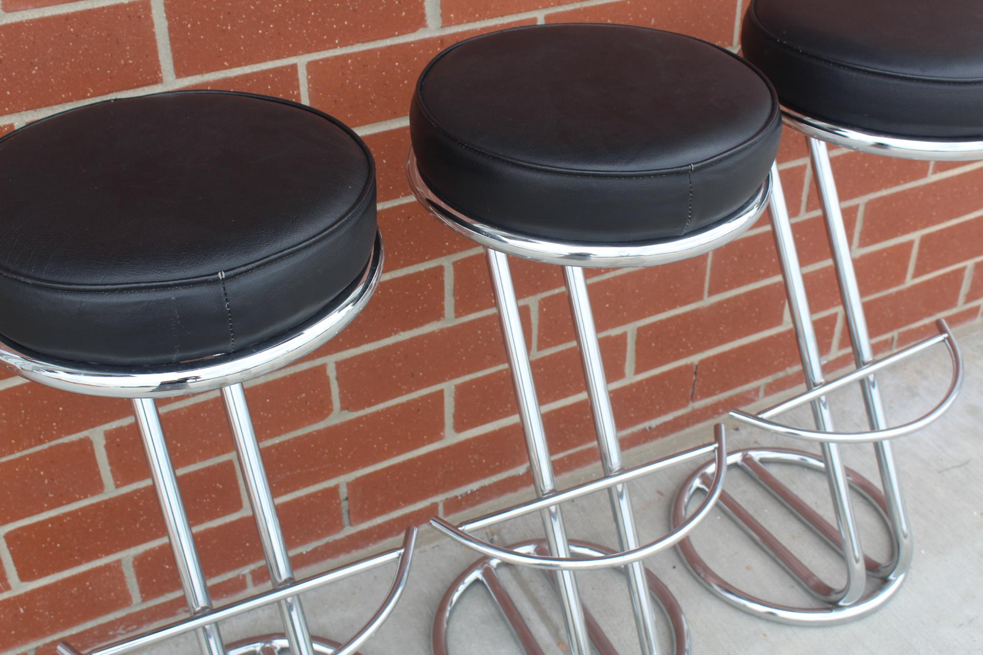 Vintage Art Deco Chrome u0026 Leather Bar Stools - Set of 3 - Image 3 of  sc 1 st  Chairish & Vintage Art Deco Chrome u0026 Leather Bar Stools - Set of 3 | Chairish islam-shia.org
