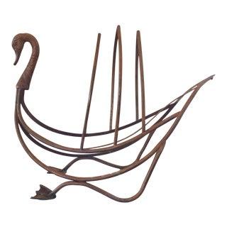 Brass Swan Magazine Rack by Maison Jansen